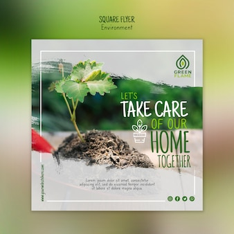 Flyer template with plant and soil