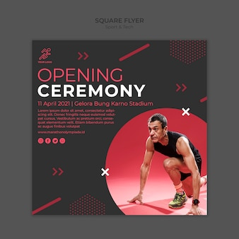 Flyer template withsport and tech concept