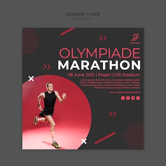 Flyer template withsport and tech theme