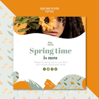 Flyer template with spring concept
