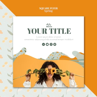 Flyer template with spring theme