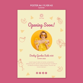 Flyer template with summer party