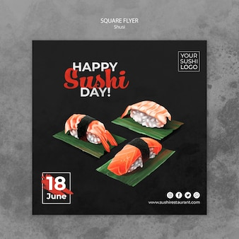 Flyer template with sushi day concept