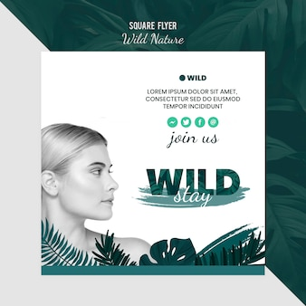Flyer template with wild nature concept