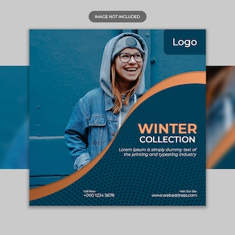 Flyer template with winter sale template