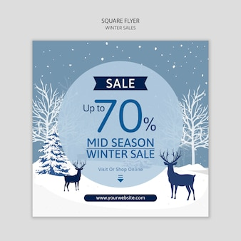 Flyer template with winter sales