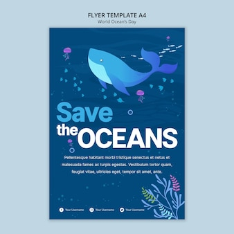 Flyer template with world ocean day concept