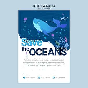 Modello di volantino con giornata mondiale dell'oceano