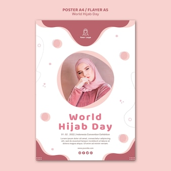 Flyer template for world hijab day celebration