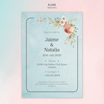 Flyer wedding invitation with watercolor flowers