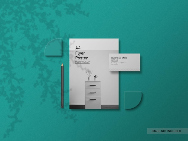 Flyer with business card mockup