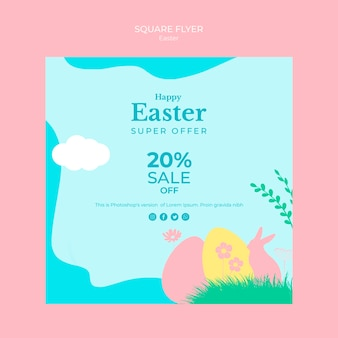 Flyer with easter sale concept