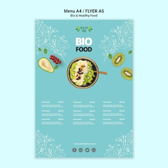 Flyer with healthy and bio food template