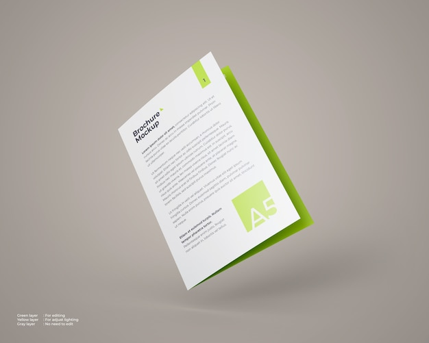 Flying a5 bifold brochure mockup which closed