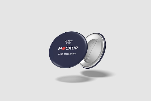 Flying badge/ pin mockup