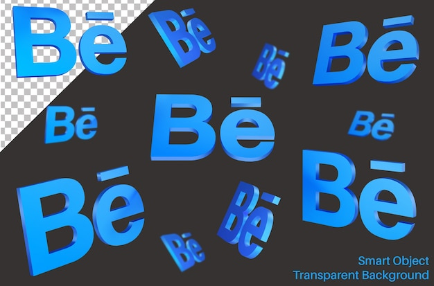 3dスタイルのbehanceソーシャルメディアのロゴ