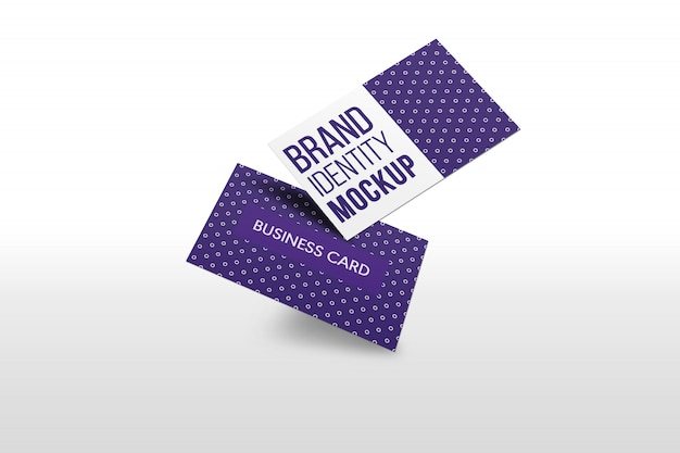 Flying business card mock up presentation