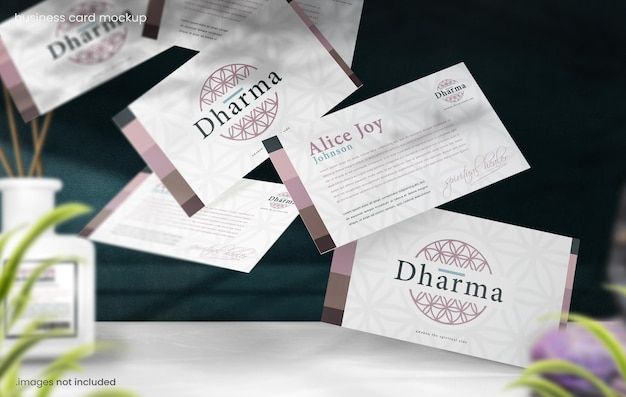 Flying business card mockup for eastern spiritual branding concept
