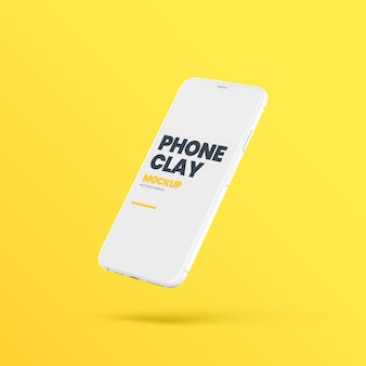 Flying clay phone device mockup