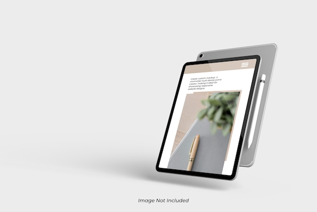 Flying close up on tablet device mockup isolated