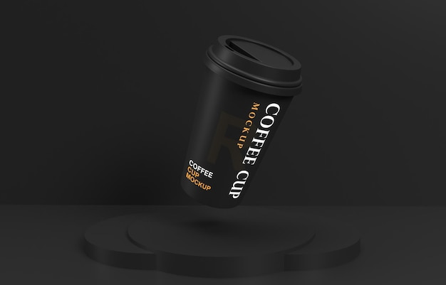 Flying coffee cup mockup with product stand