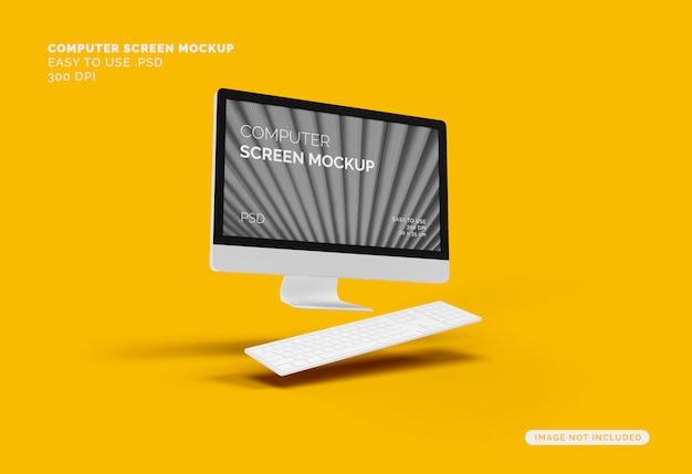 Летающий экран компьютера макет с клавиатурой