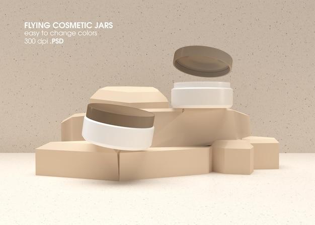 Рендеринг дизайна макета летающих косметических банок