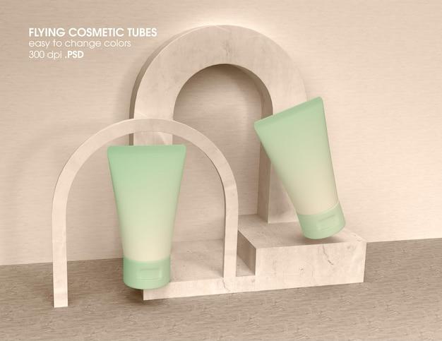 Рендеринг дизайна макета летающей косметической трубки