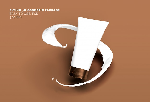 Flying cosmetic tube mockup