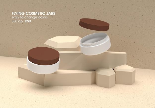 Рендеринг дизайна макета контейнера flying cream jar