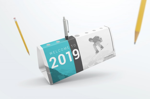 Flying desk calendar pen holder mockup