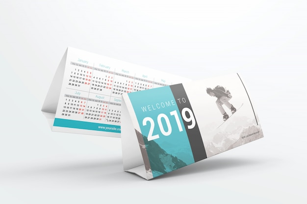 Flying desk calendars mockup