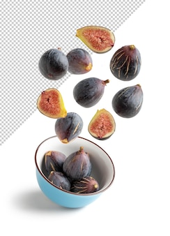 Flying figs in recyclable paper bag isolated