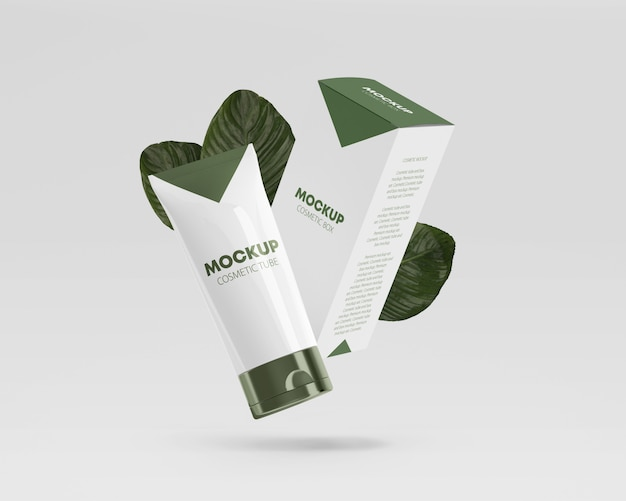 Flying glossy cosmetic tube mockup with box and leaves