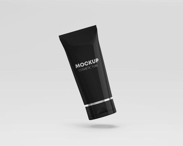 Flying glossy cosmetic tube mockup