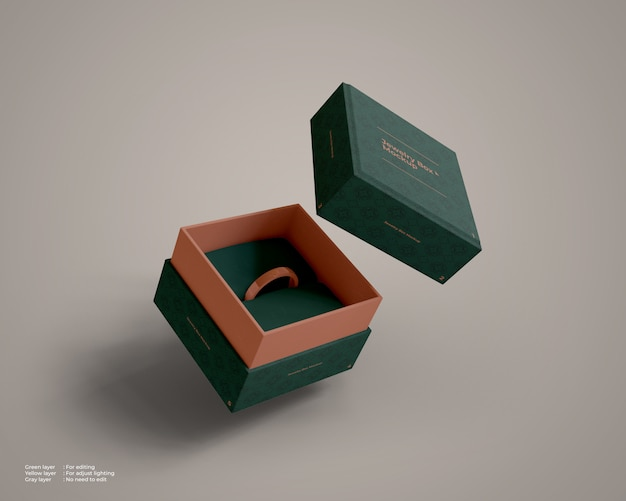 Flying jewelry box mockup