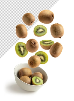 Flying kiwis on bowl, isolated with clipping path