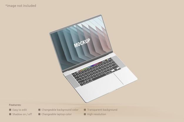 フライングノートパソコンの画面のモックアップ