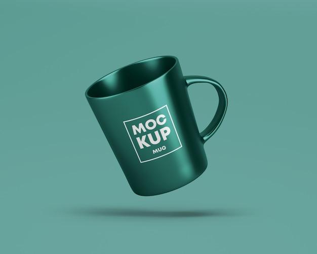 Flying metallic mug mockup