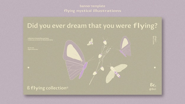 Flying mystical banner template