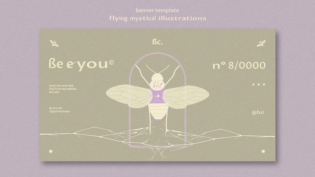 Flying mystical banner web template