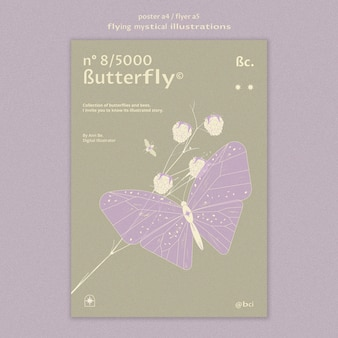 Flying mystical butterfly flyer template