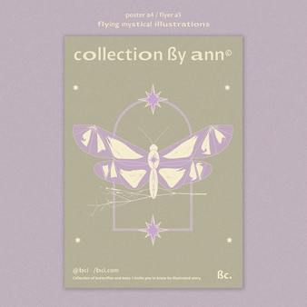 Flying mystical butterfly poster template
