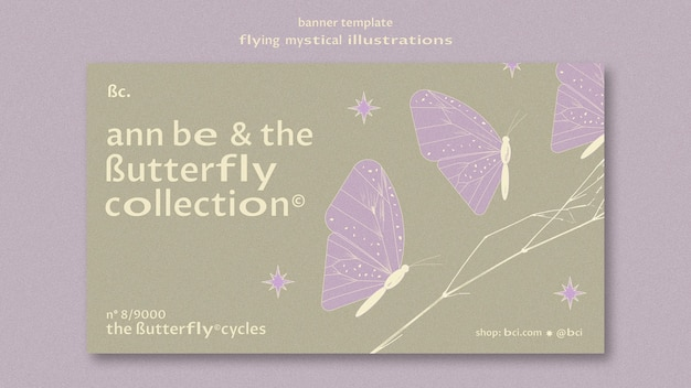 Flying mystical butterfly set banner template