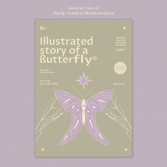 Flying mystical butterfly story poster template