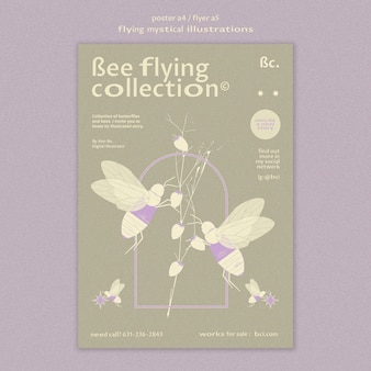 Flying mystical collection poster template