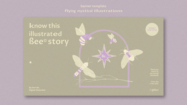 Flying mystical moth banner web template