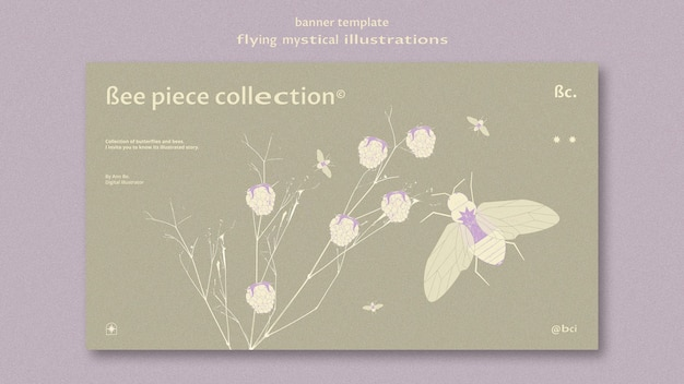 Flying mystical moth and flower banner web template