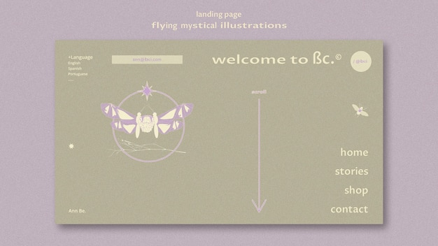 Flying mystical moth landing page web template