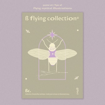Flying mystical moth poster template
